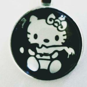Kawaii Kitty Zombie Keychain or Necklace Pendant